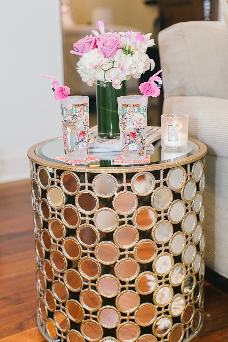 Mirrored side table, side table, fresh flowers, flamingo straws