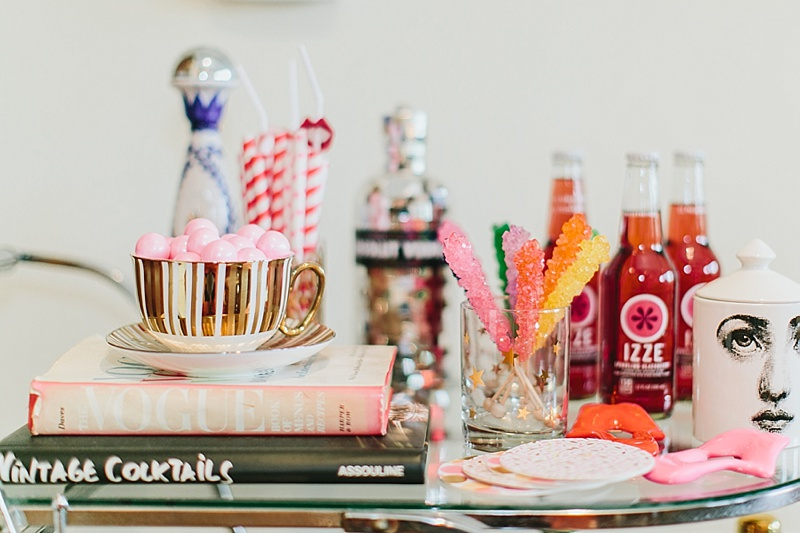 bar cart, decor, how to decorate a bar cart, rock candy, cocktail books
