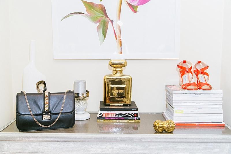 Shelf, how to decorate a shelf, Valentino, Jimmy Choo, Peonies