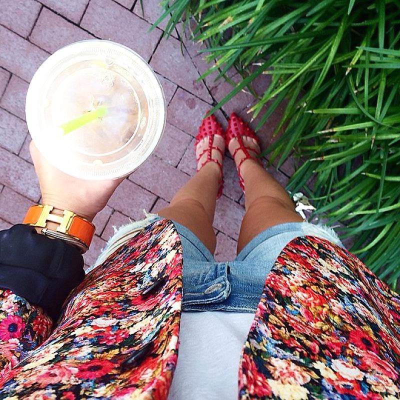 Floral Blazer , Denim Shorts , Red Valentino Rockstuds , Hermes, Starbucks