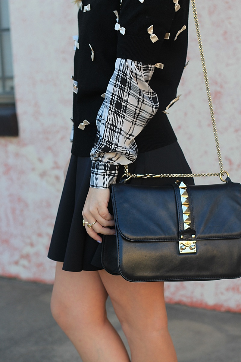 Black and White, Bow Sweater, Black Skirt, Topshop Skirt, Alice and Olivia, haute hippie, Zara, Sam Edleman, Valentino Bag, Karen Walker Sunglasses