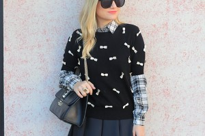 Black and White, Bow Sweater, Black Skirt, Topshop Skirt, Alice and Olivia, haute hippie, Zara, Sam Edleman, Valentino Bag, Karen Walker Sunglasses