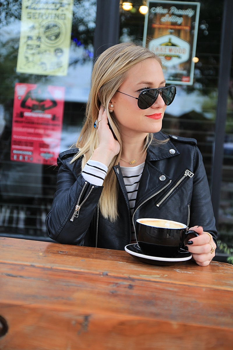 Faux Leather Jacket, Nasty Gal, Red Midi Skirt, Strope Shirt, Holiday Outfit, Holiday Look, Leopard Heels, Ray Bans, Valentino Bag, Dallas Guide, Dallas Coffee