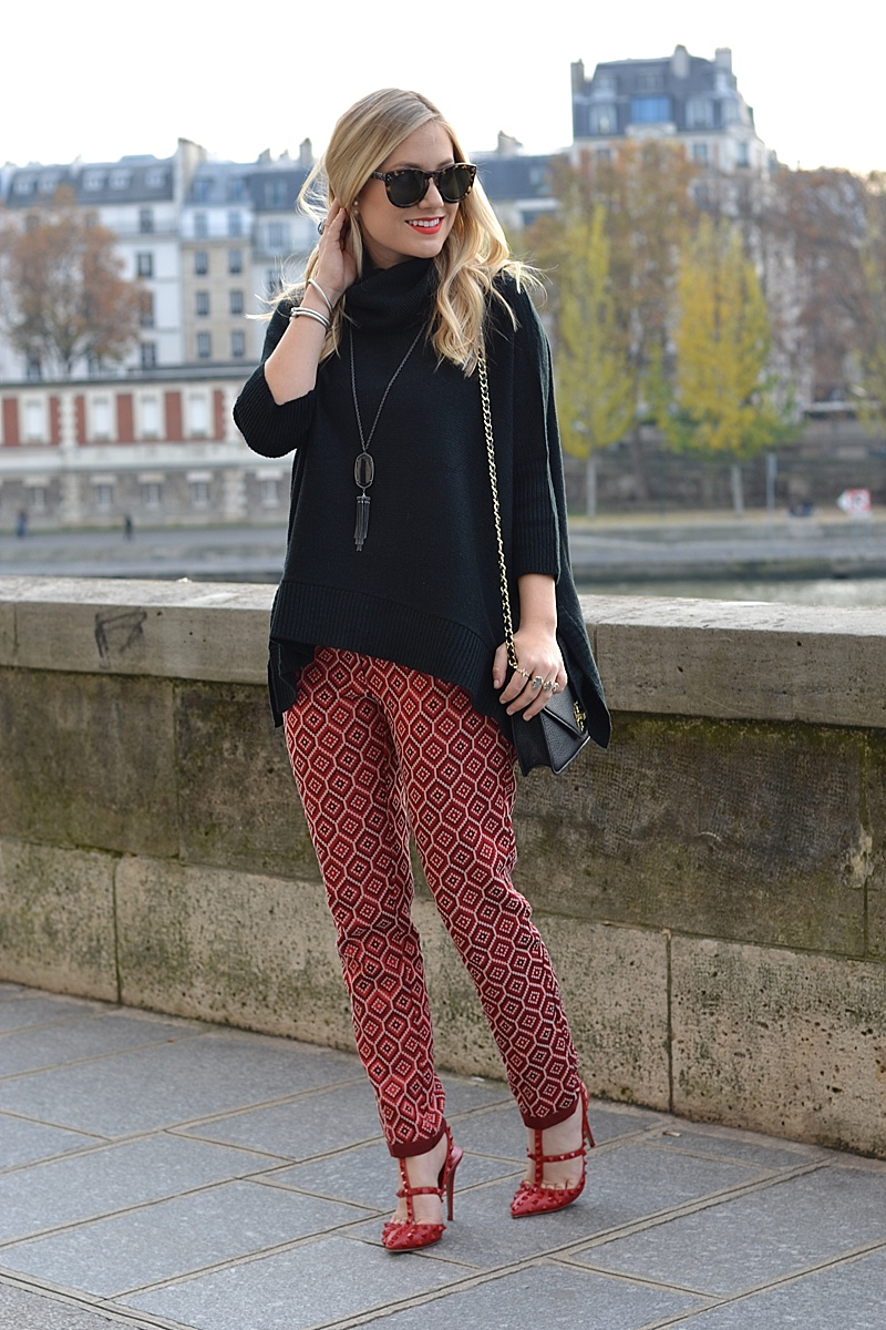 Red and Black outfit, red and black, holiday look, holiday outfit, valentino, tory burch, kendra scott, celine, red pants, red printed pants, black sweater, black turtleneck, oversized turtleneck, paris