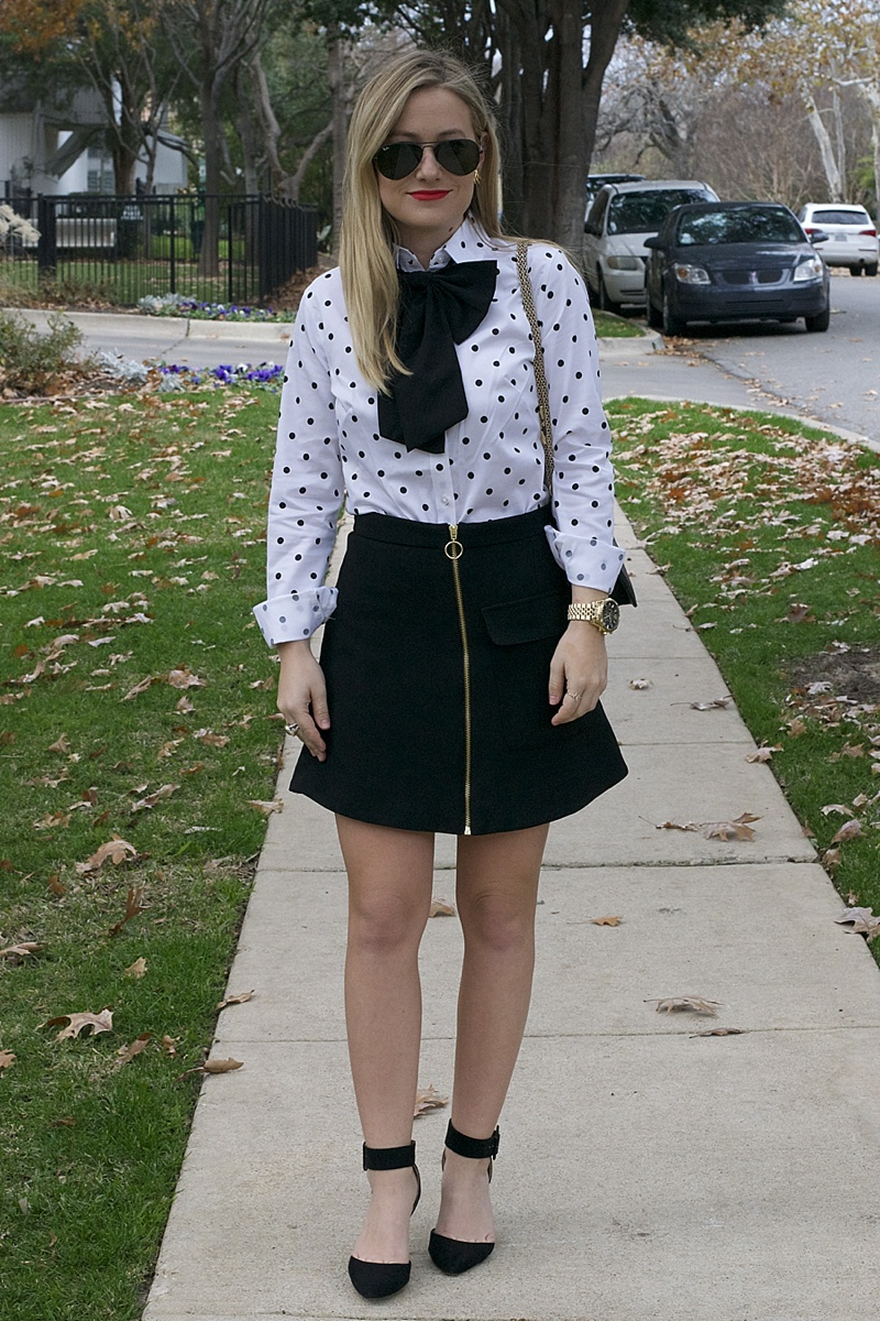 Polka Dot Top, Dotted Button Down, woman's blouse, banana republic, Bow, Asos bow, Topshop Skirt, Nordstrom Topshop, Sam Edelman, Valentino, MAC, Black and White, Baublebar