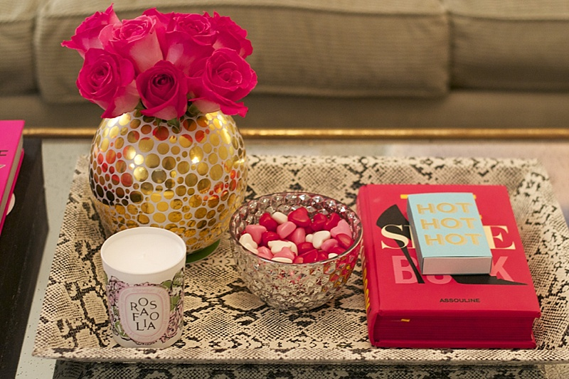 Interiors, at home, Interior, Pink, Candles, Voluspa, Diptyque, Leopard, Gold, Neutrals, Style at Home, decor, home decor, decor at home, pink decor, gold decor, chevron, leopard pillows, flowers, fresh flowers, valentines day