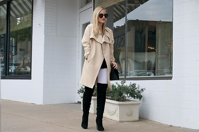 Trench Coat, Chicwish, Basics, Neutrals, Coat, Winter wear, OTK Boots, Over the knee boots, White Jeans, Winter White, Closet staples, Closet basics