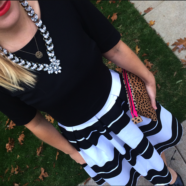 Midi Skirt, Black and White, Stripes, Express, Leopard Clutch, BaubleBar