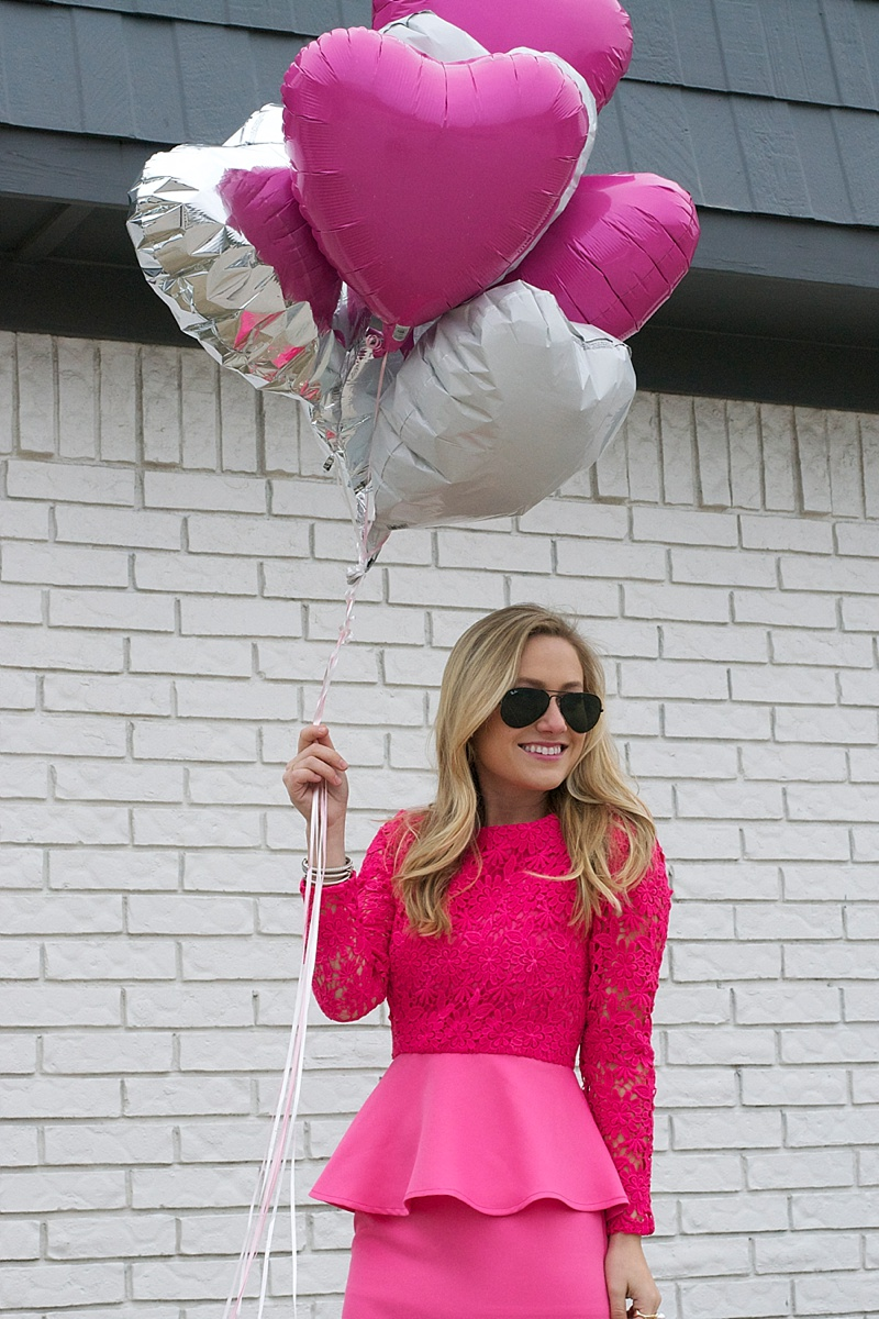 Pink Dress, Valentine's Day, Chicwish, Topshop, Ray Ban, Nordstrom, Pearls, Pearl Ring, Pearl Earrings, Peplum Dress, Hot Pink, Hot Pink Dress, Valentine's Day Dress, Topshop Heels
