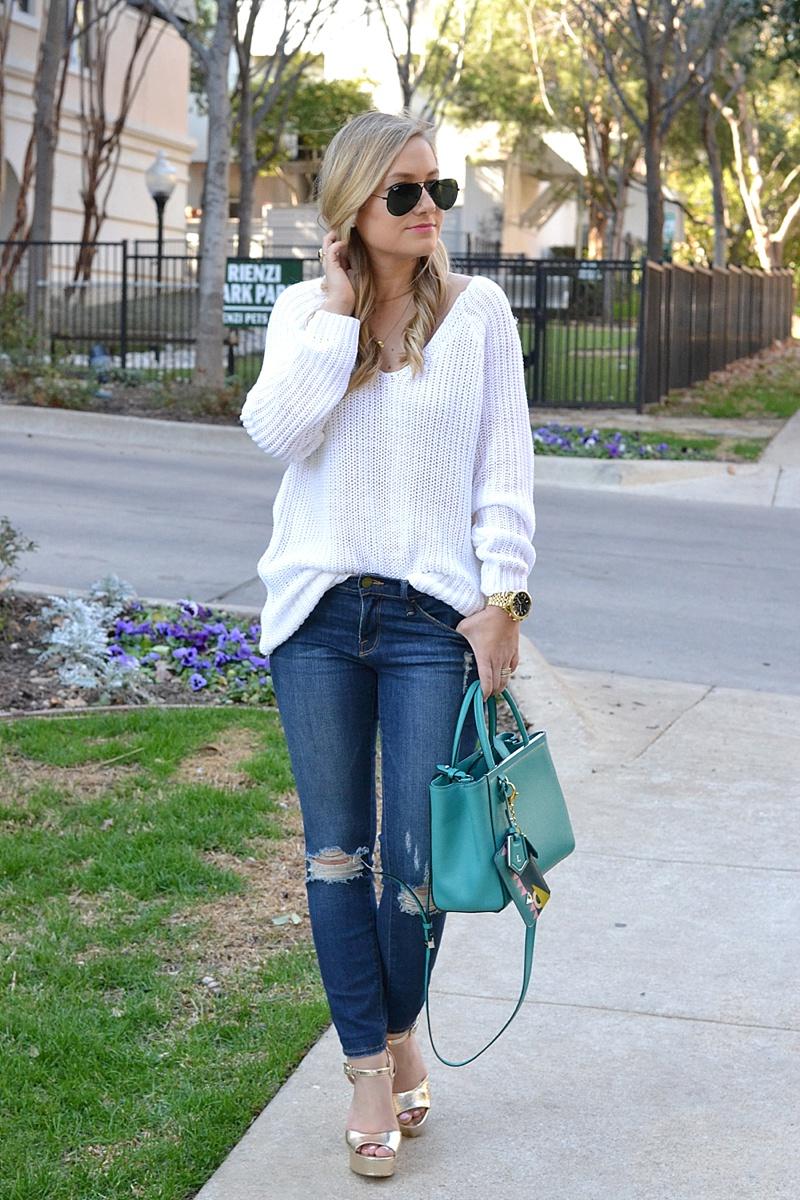 Frame Denim, Nordstrom Sweater, white sweater, topshop, topshop heels, nordstrom topshop, ray ban, denim,  Fendi Bag, Fendi Handbag, casual outfit