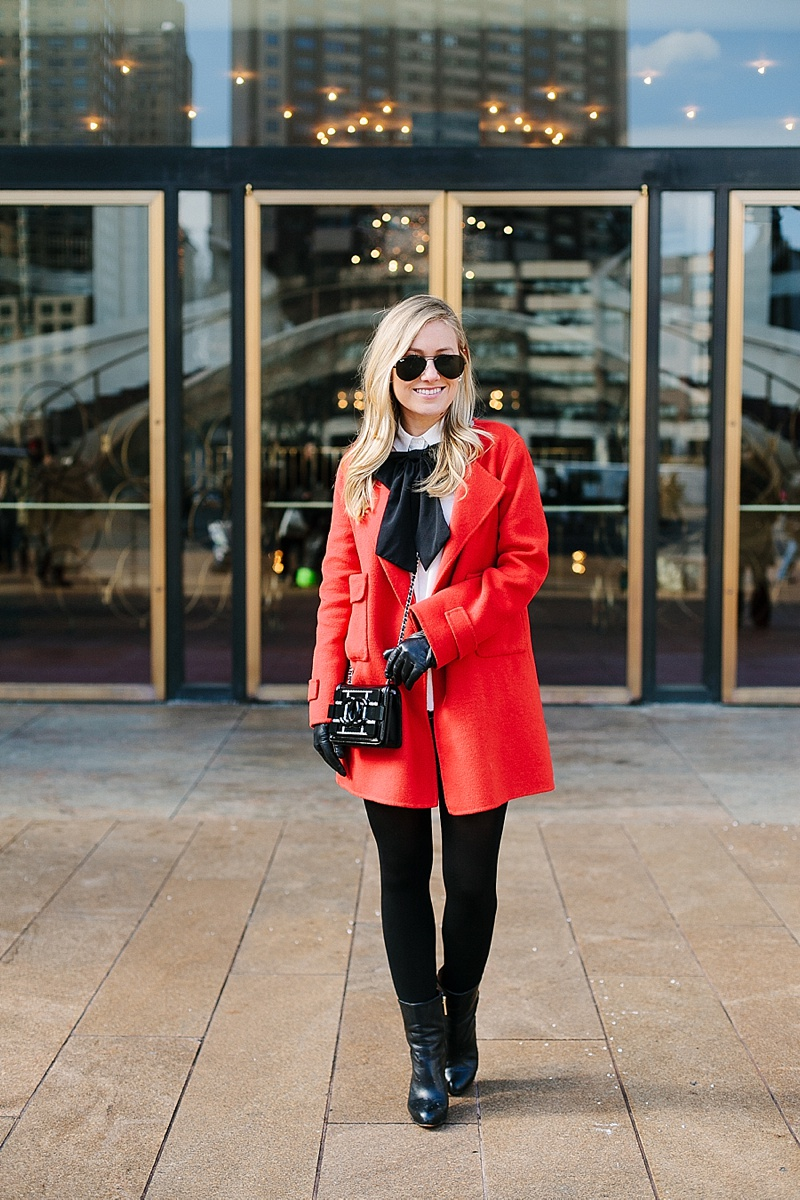 Red coat, NYFW, Snow, Red, Bow, Winter wardrobe, Asos, Topshop, Zara, Chanel, Black and white, Nordstrom, Ray Ban, White Button Down, Black Shorts, Topshop Shorts, Black ankle boots, pearl earrings, statement earrings, leather gloves, snow, New York, Dallas Blogger