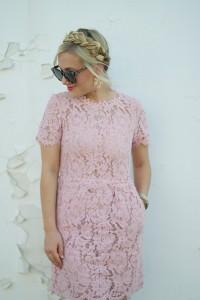 Pink Lace, Lace Dress, Pink Lace Dress, Goodnight Macaroon, Pink, Dress, Stuart Weitzman, Leopard, Karen Walker Sunglasses, Nordstrom