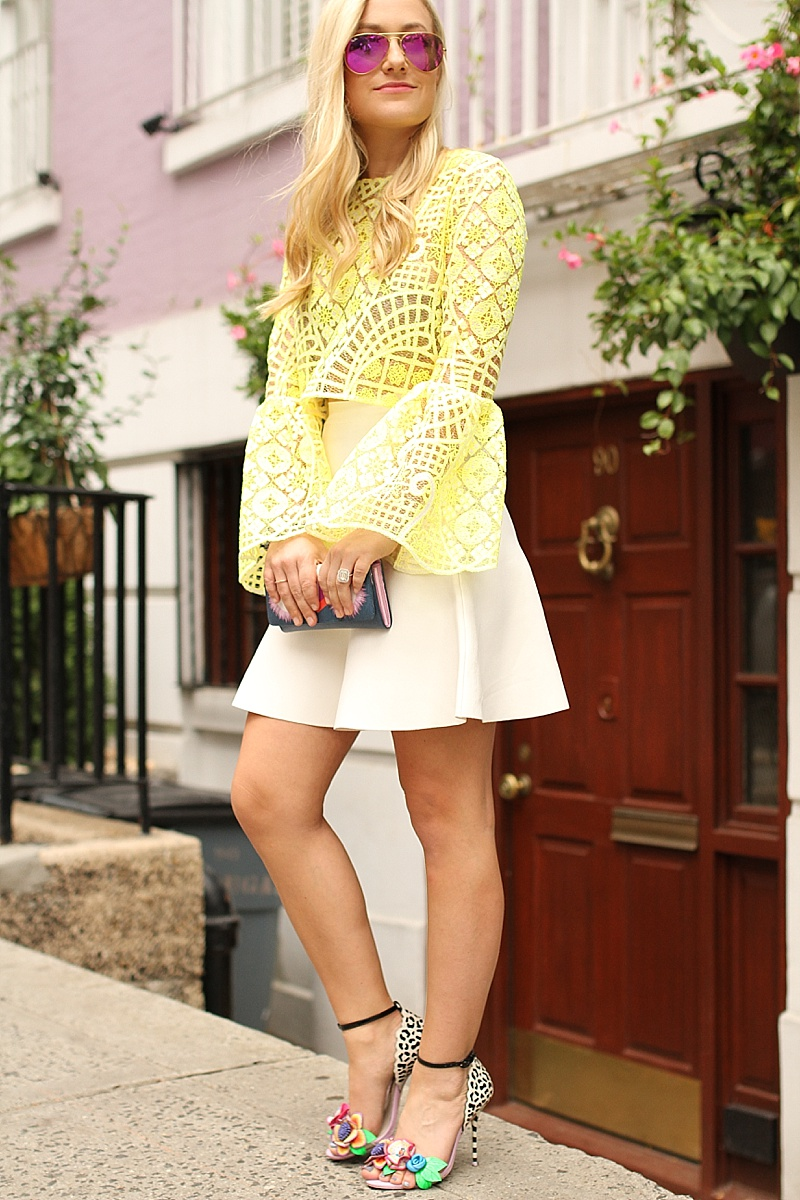 Yellow Lace, Alexis Top, BCBG Skirt, Fendi, Ray Ban Sunglasses, Sophia Webster, NYFW, Street Style, Lace Top, Colorful