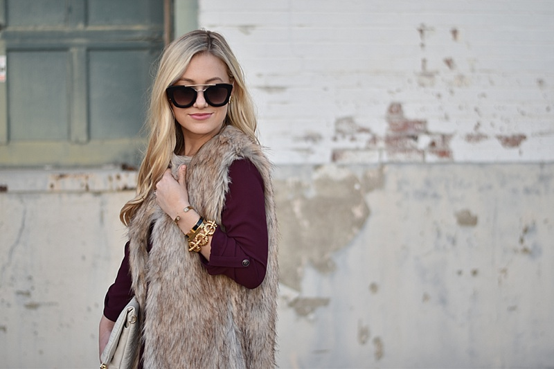 Faux Fur vest, Topshop Vest, Nordstrom vest, tan faux fur vest, burgundy dress, long sleeve dress, holiday dress under $50, valentino rock studs, nude valentino rock studs, tan rockstud heels, prada sunglasses