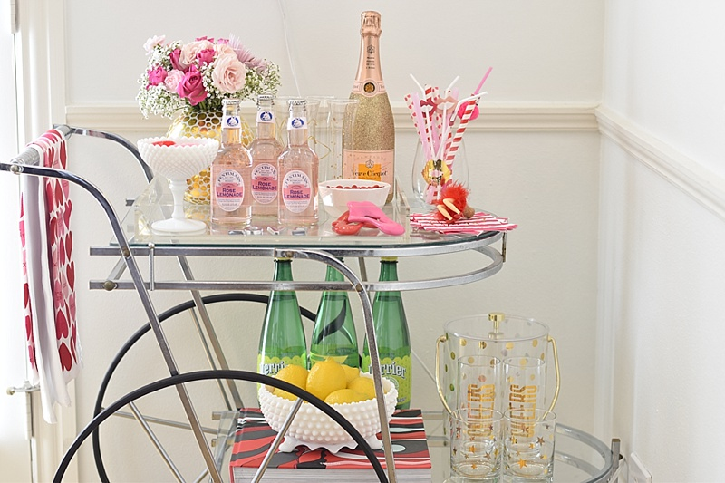 Valentine's Day Decor, Valentine's Day, Valentine's Decor, Pink, Hearts, Valetine's decorations, candy, sugarfina, champagne, crate and barrel, one kings lane, cute decor, girly decor, bar cart, how to decorate your bar cart, bar cart decor, pink decor, interior decor, valentine's day decor, vday decorations, pink decor, cute bar cart, decorating your bar cart