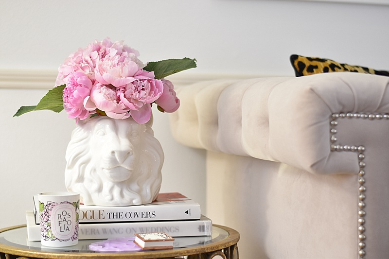 Leopard Pillows, Coffee Table Books, Coffee Table, Mirrored Coffee Table, Peonies, Gold Vase, Candles, LAFCO Candle, Side Table, Lulu & Georgia, Diptyque Candle, pink flowers, side table decor