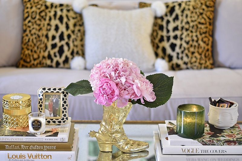 Leopard Pillows, Coffee Table Books, Coffee Table, Mirrored Coffee Table, Peonies, Gold Vase, Candles, LAFCO Candle