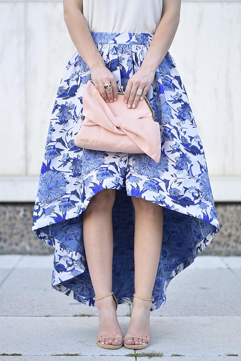 Bridal, Bridal Makeup, Beauty.com, Beauty.com Bridal, wedding makeup, Lela Rose Bag, Blue floral skirt, floral skirt, Stuart Weitzman, ladylike, high/low skirt, midi skirt