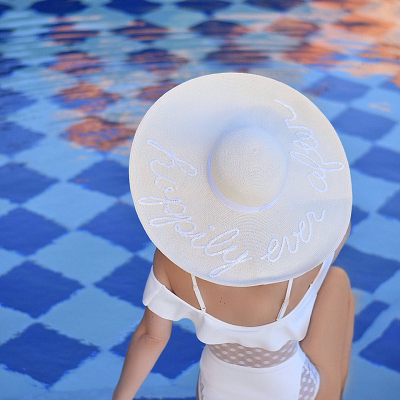 White One Piece, Sun Hat, Eugenia Kim Hat,
