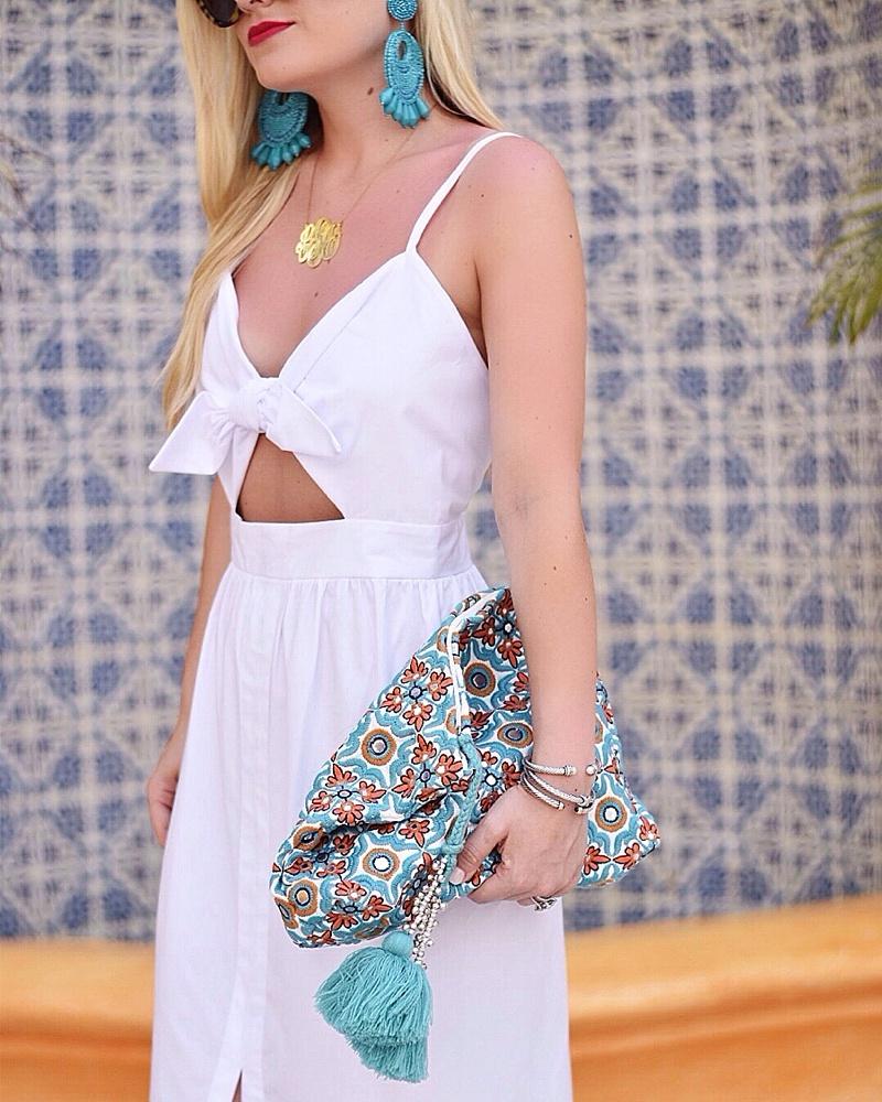 White Dress, Tie Front Dress, Monogram Necklace, Turquoise Earrings, Tassel Earrings