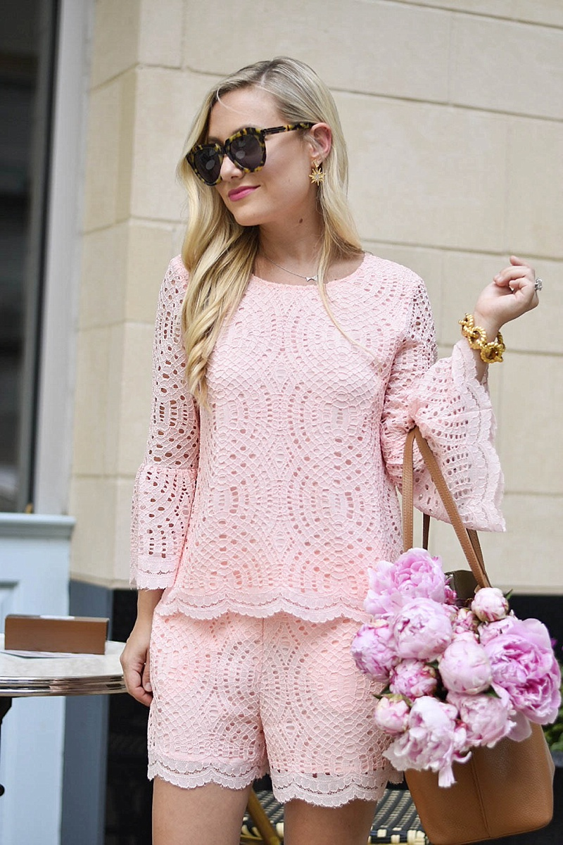 Pink Lace Two Piece, Pink Lace, Pink Lace Set, Nordstrom, Nordstrom Lace Top, Peonies, Tory Burch, Tory Burch Tote, Nordstrom Tory Burch, Pink Outfit, Pink Dress, Stuart Weitzman Heels