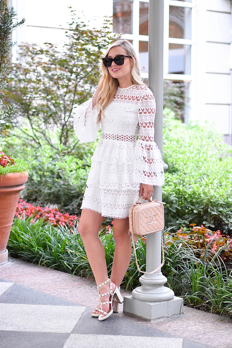 White Lace Alexis Dress, Lace Dress, Shop Alexis, Shopbop Alexis, Neiman Marcus Alexis, Bell sleeves, white lace, Chanel Bag, Valentino Shoes, Valentino Sandals, White Valentino Rockstuds, Le Specs Sunglasses, Nordstrom Sunglasses, Dallas Blogger, Alexis Dress