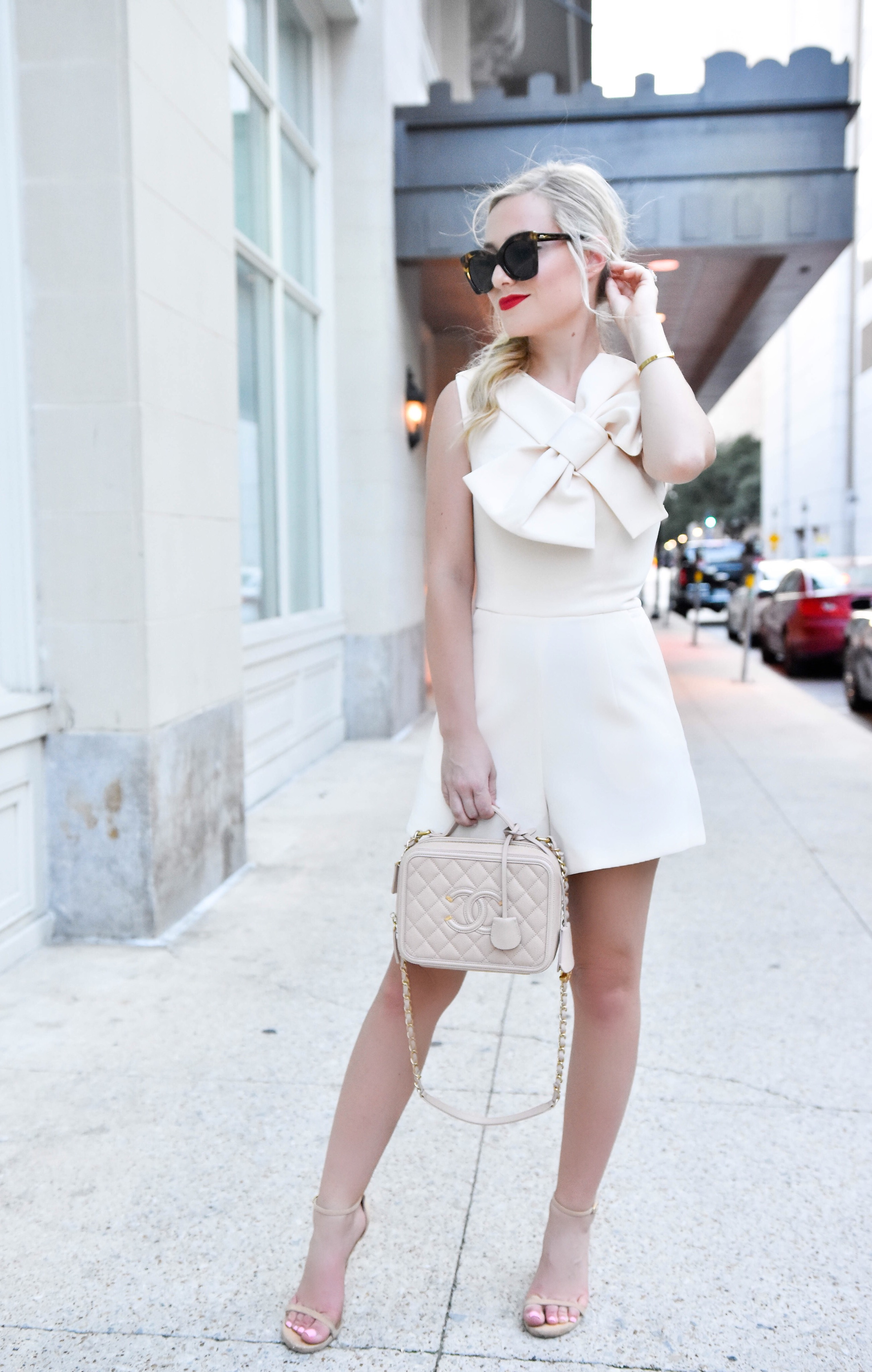 Romper, White Romper, Bow Romper, Bow Front Romper, Chanel Bag, Le Specs Sunglasses, Asos Romper, bridal, engagement outfit, red lipstick