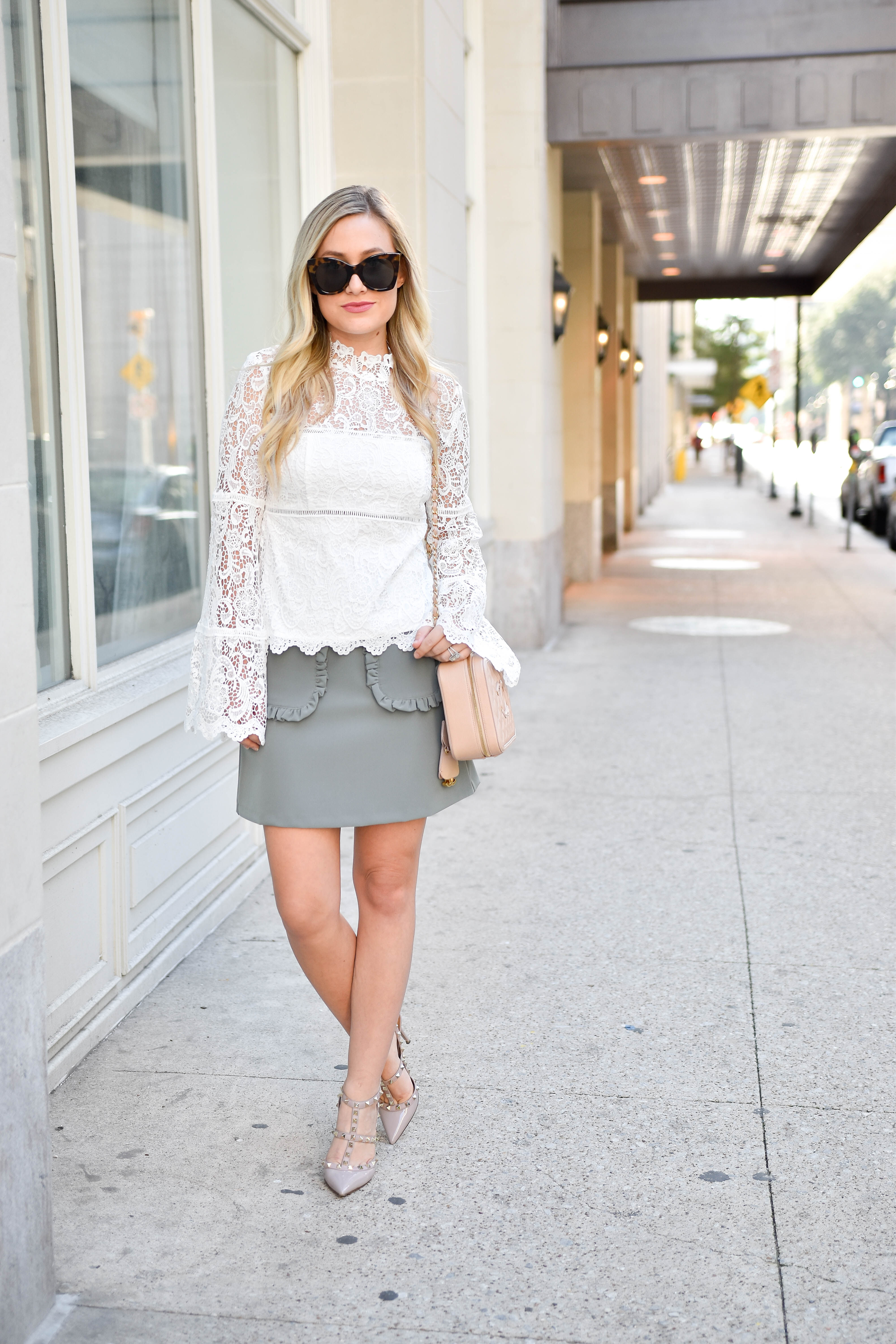 lace-top, jeans, topshop-jeans, nordstrom, nordstrom-jeans, chanel, chanel-handbag, revolve, revolve-lace-top, asos, asos-skirt, girly-style, feminine-lace, bell-sleeve-top, lace-top-under-$100, ruffle-skirt, valentino, valentino-rickstuds, nude-valentino-shoes, neiman-marcus-shoes