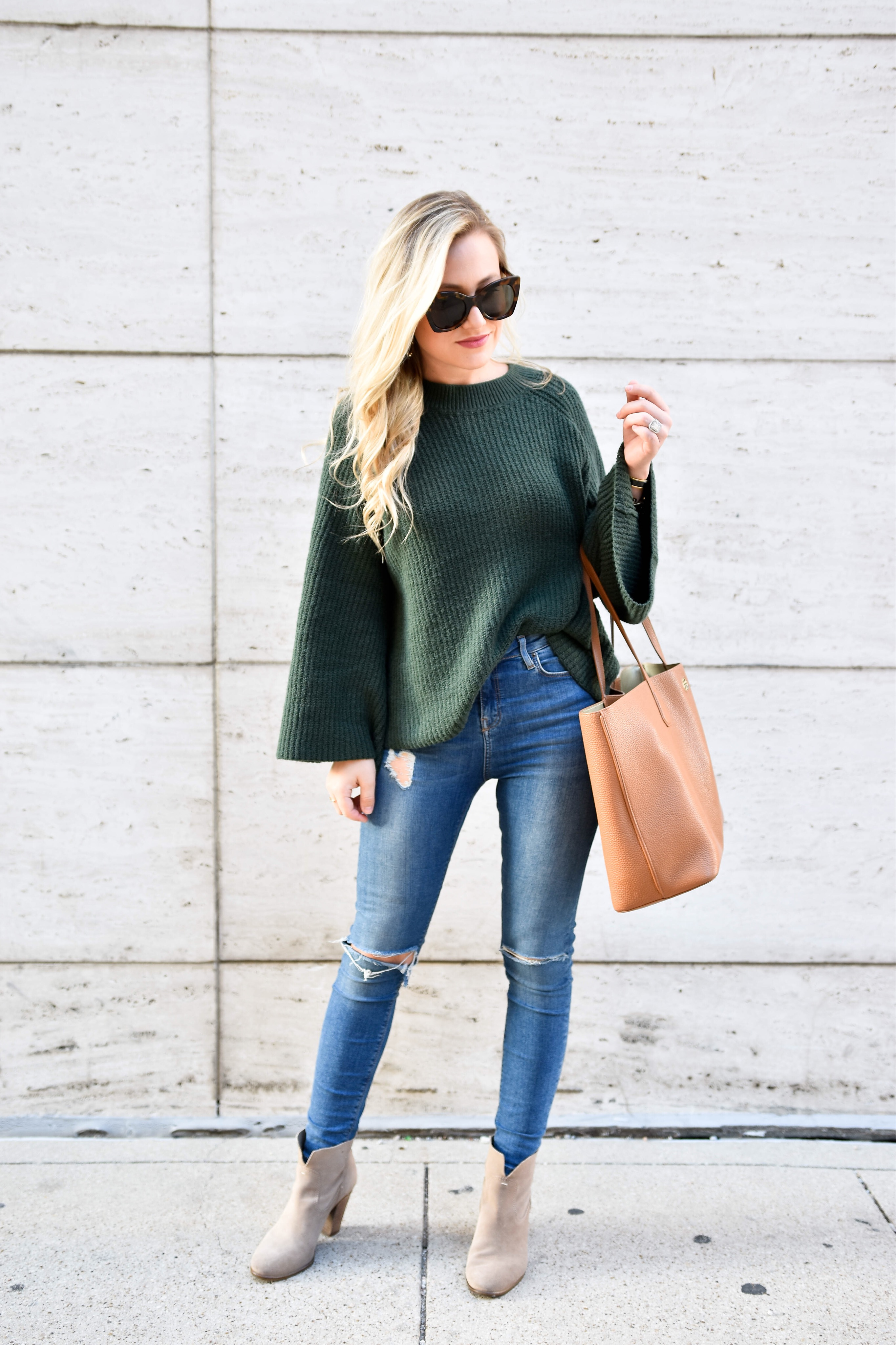 Sweater under $60, Bell sleeve sweater, nordstrom-sweater, jeans