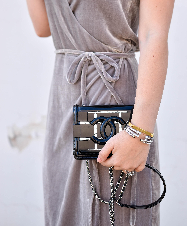 Holiday-dress, Velvet-holiday-dress, Holiday-dress-under-$150, Velvet-Dress, WAYF-Dress, Chanel-bag, Holiday-Outfit-Ideas