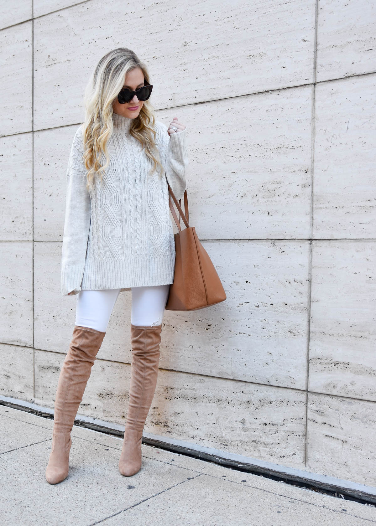 White-Cable-Knit-Sweater, White-Jeans