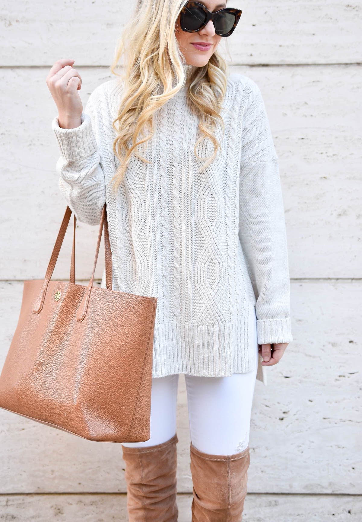 White-Cable-Knit-Sweater, White-Jeans, Tory-Burch-tote, Over-the-knee-boots, Nordstrom-sweater, Nordstrom-Womens