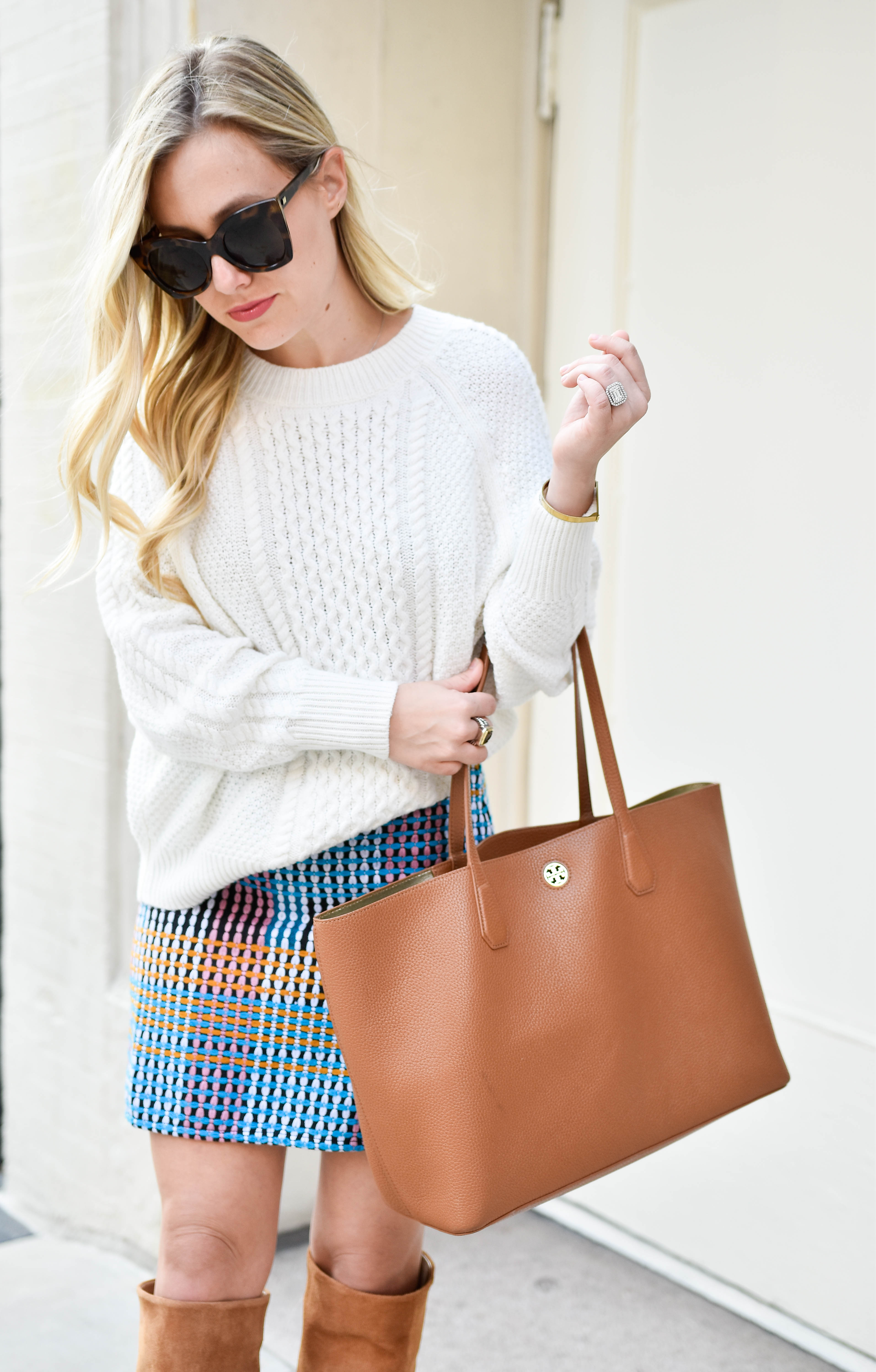 Fall-fashion, Nordstrom, Cableknit-sweater, over-the-knee-boots, tory-burch-tote, mini-skirt, thanksgiving-outfit