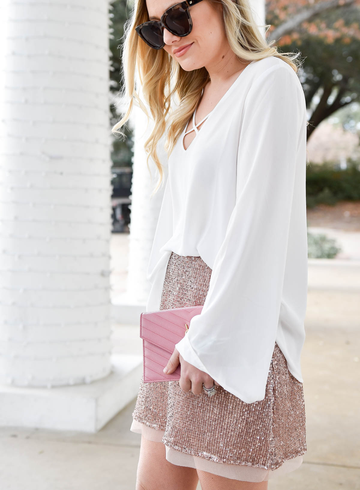 Nordstrom, Nordstrom-womens, Nordstrom-skirt, sequin-skirt, free-people-skirt, valentino-rockstuds, ssl-handbag, new-years-eve-outfit, pink-skirt