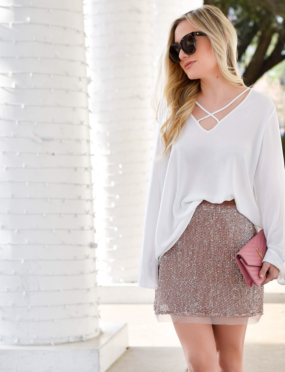 Pink-sequin-skirt