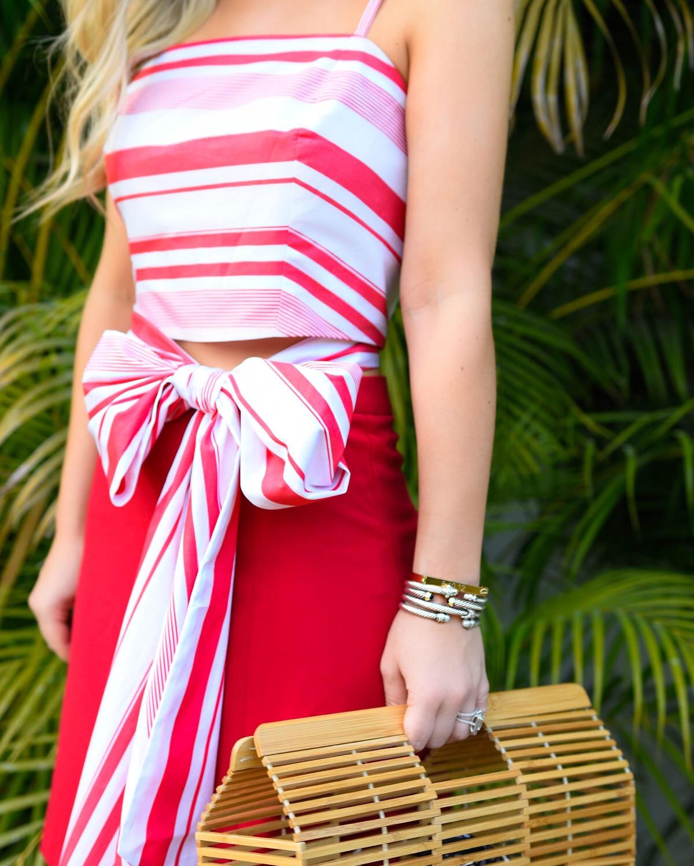 Red-bow-top, red-mini-skirt, ASOS-skirt, J.Crew-earrings