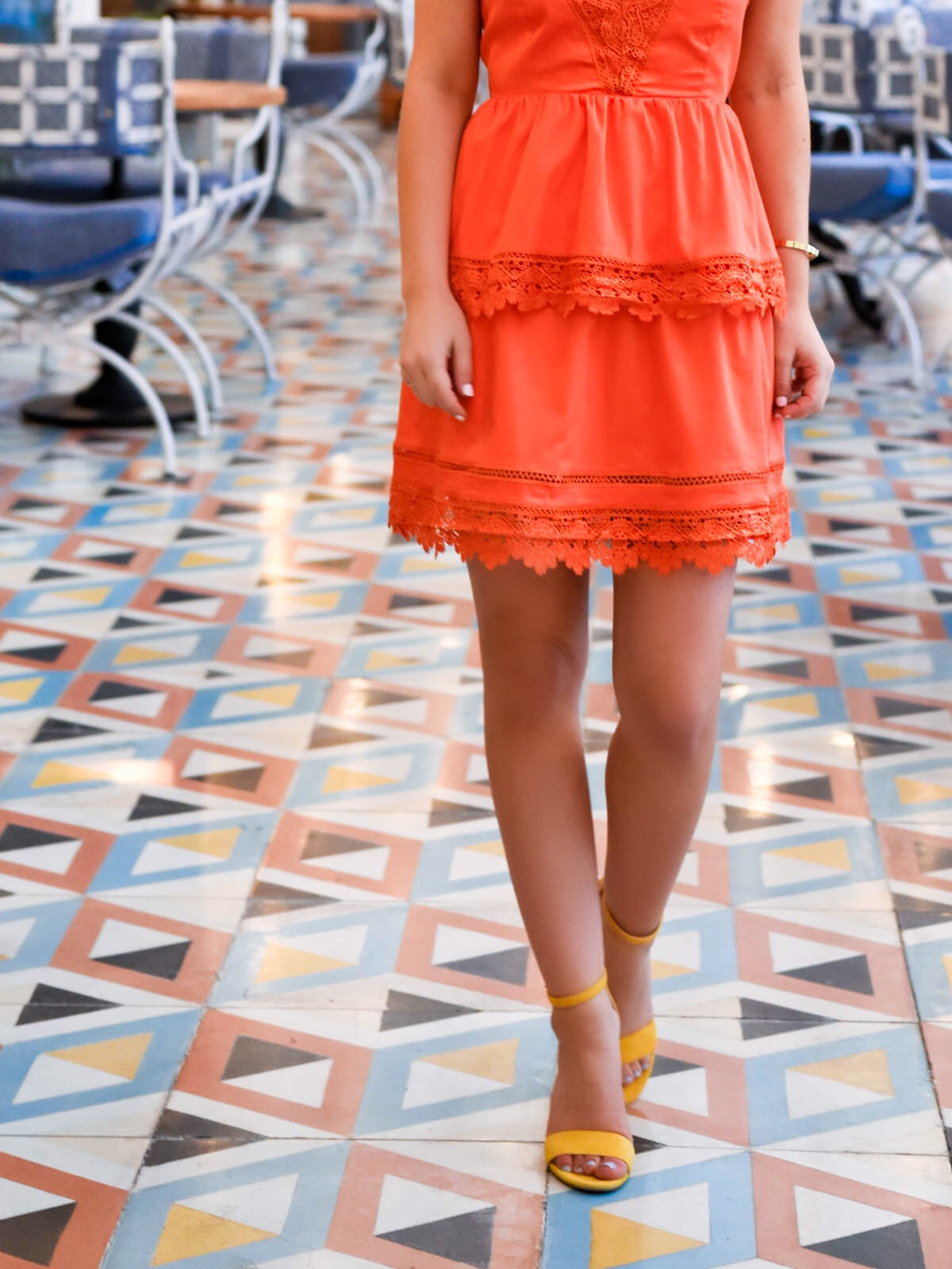 Bardot-Dress, Nordstrom-Dress, Lace-Dress, Orange-Lace-Dress, Bardot, Mexico-City, Travel-Blogger, Sam-Edelman-sandals