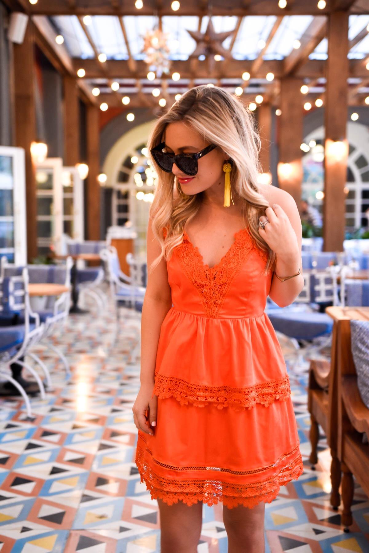 Bardot-Dress, Nordstrom-Dress, Lace-Dress, Orange-Lace-Dress, Bardot, Mexico-City, Travel-Blogger