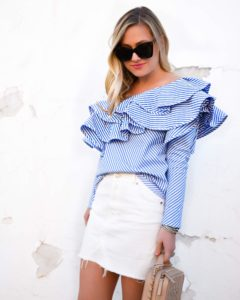 Chicwish-top, ruffle-top, one-shoulder-tops, white-skirt, nordstrom-skirts, spring-outfit-ideas, chanel-bag