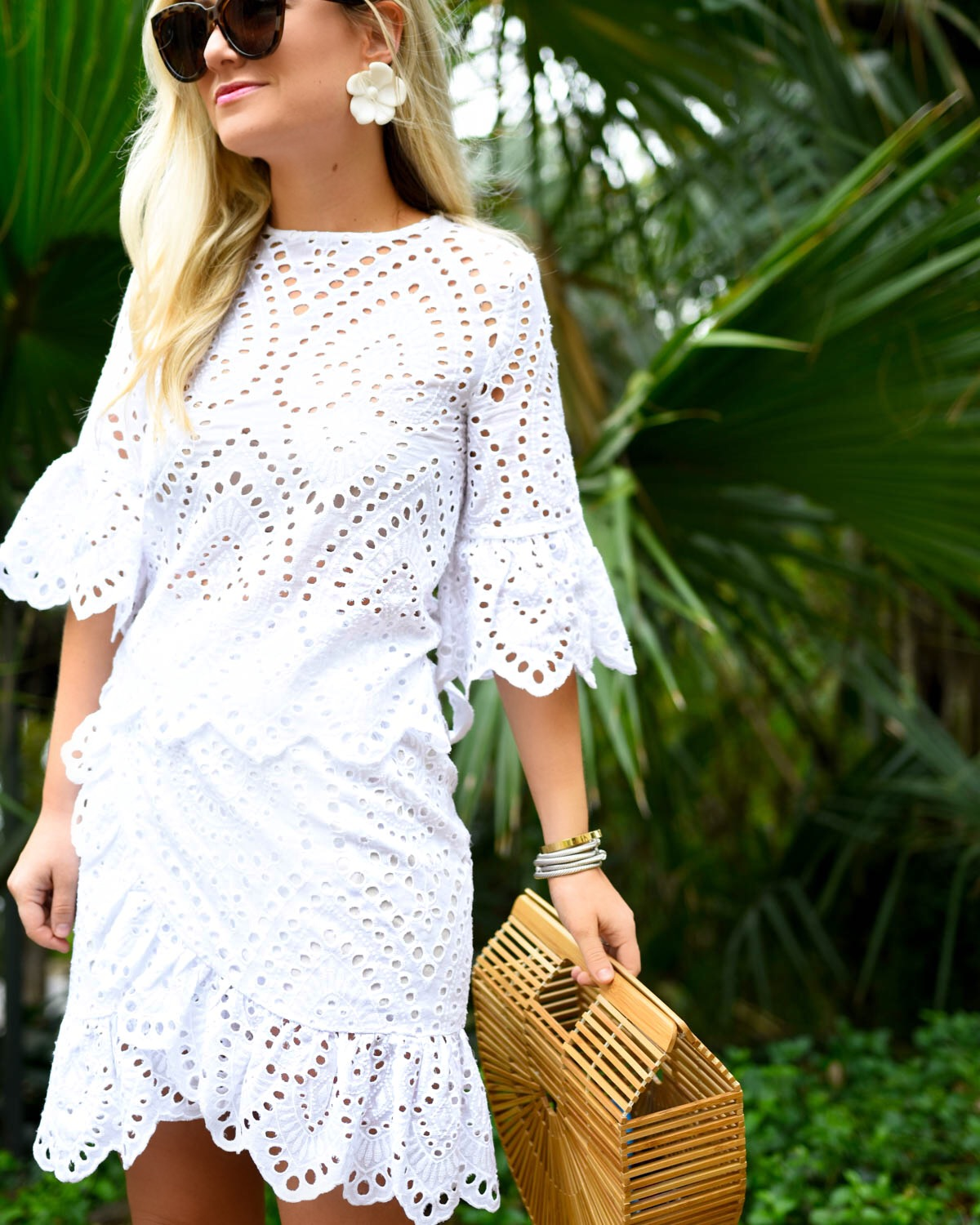 White-eyelet-dress, Winona-Australia-dress, Valerie-Wrap-Dress, White-wrap-dress, Revolve-dresses, Cult-Gaia-Arc-Bag, David-Yurman-Bracelets