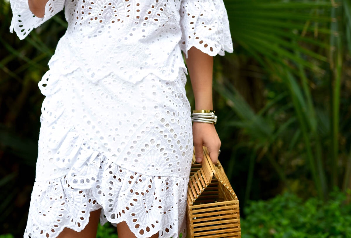 White-eyelet-dress, Winona-Australia-dress, White-wrap-dress, Revolve-dresses, Cult-Gaia-Arc-Bag, David-Yurman-Bracelets, Valerie-Wrap-Dress