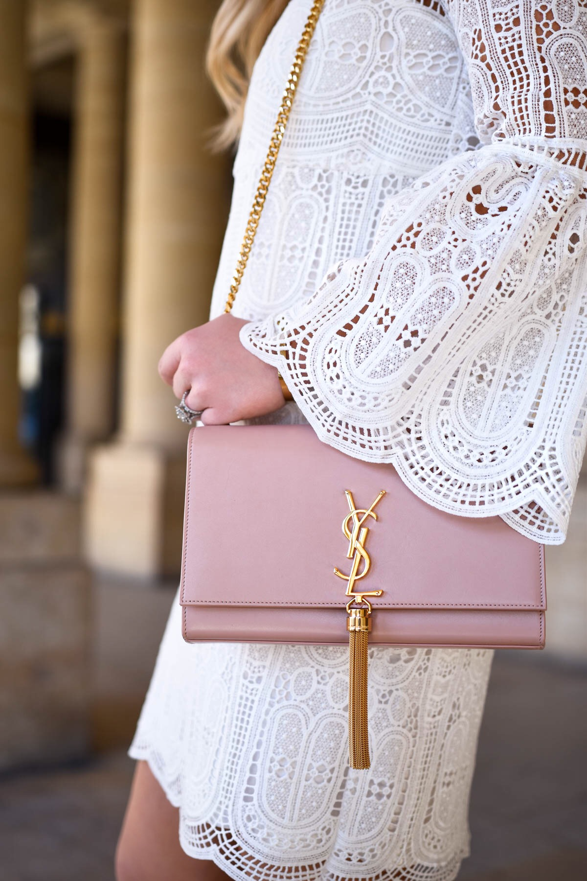White-Lace-Dress, Bell-Sleeve-Dress, YSL-Handbag, Saint-Laurent-Handbag, Tassel-Bag, Chicwish-Dress