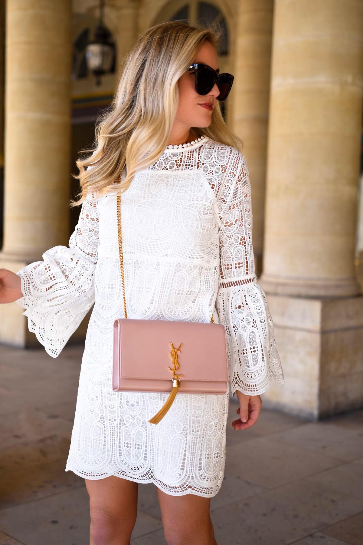 White-Lace-Dress, Bell-Sleeve-Dress, YSL-Handbag, Saint-Laurent-Handbag, Tassel-Bag, Chicwish-Dress