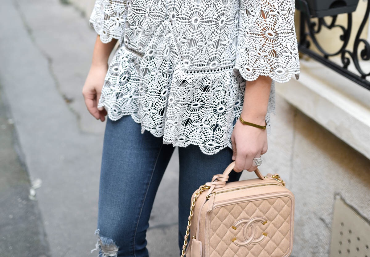 Chicwish, Chicwish-top, Lace-top, Chanel-Handbag, Ripped-Jeans, Stuart-Weitzman-Sandals