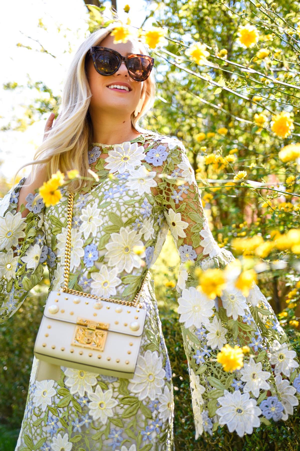 Floral-dress, spring-dress, gucci-handbag, neiman-marcus-handbag