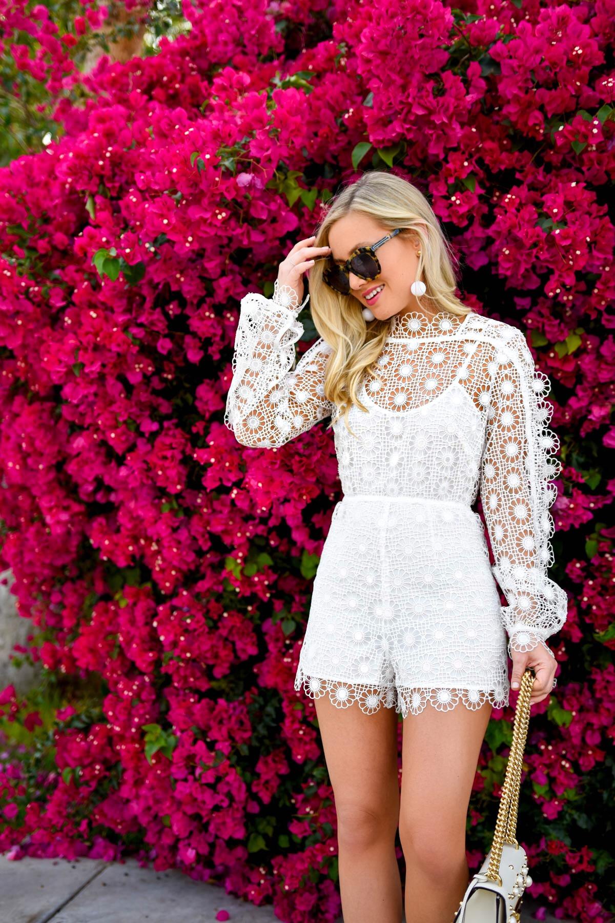 Alice-McCall-Romper, White-Lace-Romper, Gucci-Handbag, Stuart-Weitzman-Heels, Kenneth-Jay-Lane-Earrings, Palm-Springs, Travel-Blogger, Lo-Murphy