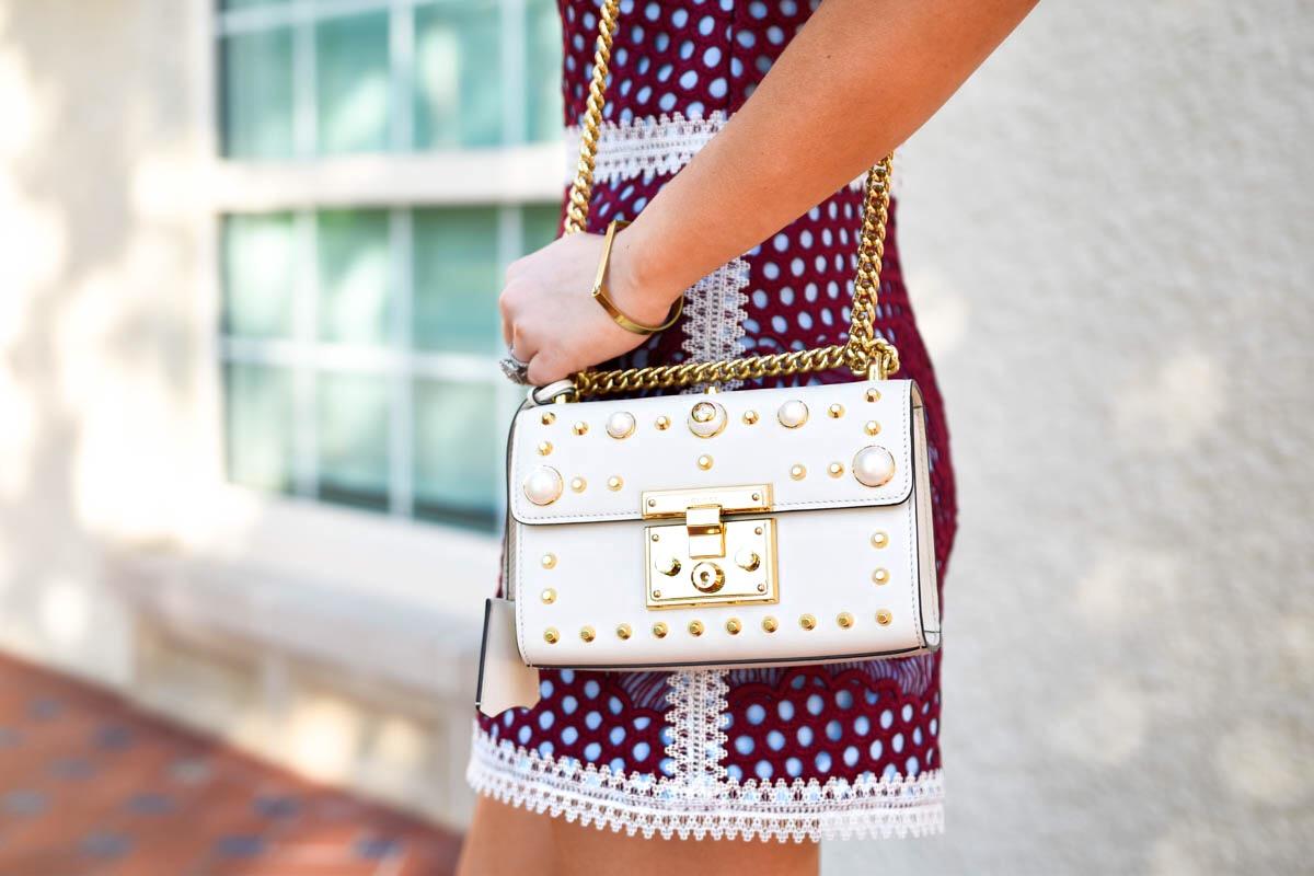 LoMurphy, Alexis Romper, Alexis Rowen Romper, LeSpecs Sunglasses, Gucci Pearl Handbag, White Pumps, White Heels, Dallas Blogger