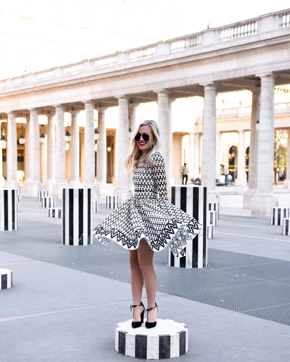Maje-Lace-Skater-Dress, Black-and-white-dress, Maje-Dress, Paris, Lo-Murphy, Travel-Blogger, Palais-Royal, Gucci-Pearl-Handbag, Gucci-Padlock, Steve-madden-Heels