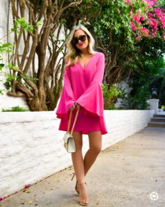 Pink-bell-sleeve-dress, Gucci-handbag, nude-sandals