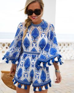 Blue-and-white-tassel-romper, cult-gail-bag, blue-and-white-romper